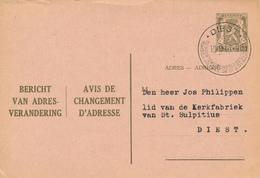 DIEST / Belgique - 1948 , Adressänderungskarte - Avis De Changement D'Adresse - Sonstige