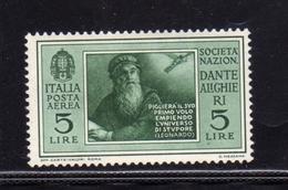 ITALIA REGNO ITALY KINGDOM 1932 DANTE ALIGHIERI POSTA AEREA AIR MAIL LIRE 5 MNH - 1900-44 Victor Emmanuel III.