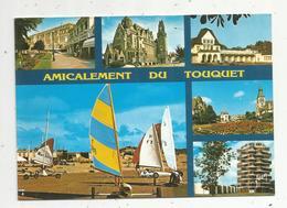 Cp , 62 ,  Amicalement Du TOUQUET ,multi Vues , Voyagée 1986, Ed. Yvon ,le Touquet - Le Touquet