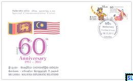 Sri Lanka Stamps 2017, Malaysia Diplomatic Relations, Dancers, Special Commemorative Cover - Sri Lanka (Ceylon) (1948-...)