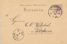 GRÜNBERG / Zielona Góra - 1886 , Ganzsache Nach Potdam - Heftklammerlöcher - Interi Postali