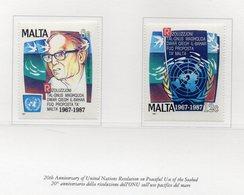 Malta - 1987 - 20° Anniversario Risoluzione ONU Sull'uso Pacifico Del Mare - 2 Valori - Nuovi - Vedi Foto - (FDC14131) - Malta