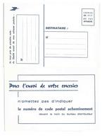 Carte Postale De Service - Diffusion Du Code Postal - Ganzsachen