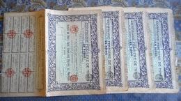 LOT DE 4 ACTION DE 250 FRANCS 1907 Avec Coupons COMPAGNIE FERMIERE DE MINES EN RUSSIE - Mijnen