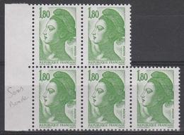 2375a** 1.80f. Liberté SANS BANDE De PHOSPHORE - Bloc De 4 + 1 Isolé - 1982-90 Liberty Of Gandon