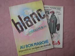 Au Bon Marché  1 Catalogue Blanc 1934 Avec 21 Echantillons Tissus -1 Catalogue Soldes 1921   TBE - Textile & Clothing
