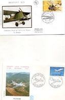 Lot De 5 Enveloppes 1ER JOUR   Theme Aviation COUZINET  FALCON 900 BREGUET  ANNEE 2002.1992.1997.1985.2000. - Aerei