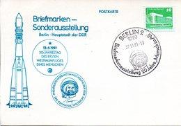"""(DDR-B1) DDR Sonderkarte """"BM-Ausstellung 20 Jahre Mensch Im All"""", EF Mi 2484, SSt. 27.11.1981 BERLIN 2 - Briefe U. Dokumente"""