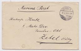 MARINE-POST FELDPOST BRIEF DEUTSCHLAND HAGEN TO ZETEL GERMAN MILITARY SEA MAIL COVER WW1 LETTRE GUERRE FRANCHISE POSTALE - Germany