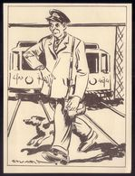 REVISOR ELETRICO CARRIS Postal Ilustrado De STUART CARVALHAIS Edição Do Jornal DIARIO POPULAR - Lisboa