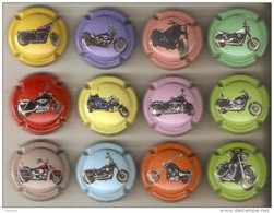 SERIE COMPLETA DE 12 PLACAS DE CAVA BARNILS DE MOTOS HARLEY DAVIDSON (CAPSULE) MOTO-MOTORBIKE - Placas De Cava