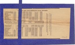 Dienstregeling Trein - Ijzeren Weg Sint Niklaas - Brussel 1908 - Europa