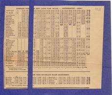 Dienstregeling Trein - Ijzeren Weg Land Van Waas - Antwerpen Sint Niklaas - Gent  1908 - Europe