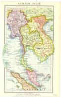 Kaart Carte Map - Achter Indië - Birma Thailand Cambodja Vietnam - 1953 - Cartes Géographiques