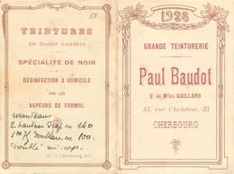 CALENDRIER ANNEE 1928 - Grande Teinturerie Paul Baudot,33 Rue Christine Cherbourg. - Calendriers