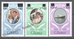 Ghana 1990 Yvert 1101-03, Royal Wedding, Overprinted New Values - MNH - Ghana (1957-...)