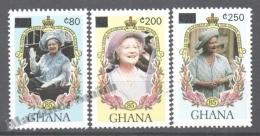 Ghana 1990 Yvert 1098-1100, Queen Mother Anniversary, Overprinted New Values - MNH - Ghana (1957-...)