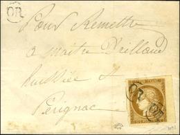 OR (2 Frappes) / N° 1 Bdf Sur Lettre Avec Texte Daté Le 22 Novembre 1850 Adressée Localement à Perignac (Charente Inféri - 1849-1850 Ceres