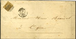 Grille / N° 1 Bistre Verdâtre Foncé (infime Def) Càd T 14 SEURRE (20) Sur Imprimé Complet Pour Dijon. 1851. - TB. - 1849-1850 Ceres
