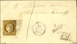 Grille / N° 1 (filet à Peine Effleuré) Cursive 9 / Mailly + CD Sur Lettre Locale Avec Texte Daté De Semoine, Dateur B. 1 - 1849-1850 Ceres