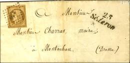 PC 2856 / N° 1 Bistre Brun Cursive 25 / Sedron Sur Lettre Avec Texte Pour Montauban. 1852. - TB / SUP. - R. - 1849-1850 Ceres