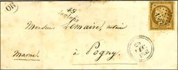 PC 1567 / N° 1 Bistre Brun Cursive 49 / Jallons Sur Lettre Locale Pour Pogny Dateur B 1852. - TB. - R. - 1849-1850 Ceres