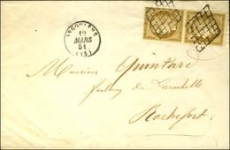 Grille / N° 1 Paire (1 Ex Pd) Càd T 15 ANGOULEME (15) Sur Imprimé Complet Pour Rochefort. 1851. - TB. - 1849-1850 Ceres