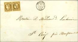 Grille / N° 1 Paire Bistre Brun Superbes Marges Càd T 15 BERGERAC (23) Sur Imprimé Pour Ste Croix. 1851. - TB / SUP. - R - 1849-1850 Ceres