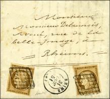 Grille / N° 1 (2) Bistre Brun Belles Marges Càd T 15 REIMS (49) Sur Lettre En Double Port Local. 1851. - SUP. - R. - 1849-1850 Ceres