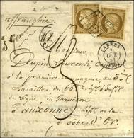 Grille / N° 1 (2) Bistre Brun Foncé Belles Marges Càd T 15 SABRES (39) 2 OCT. 51 Sur Lettre 2 Ports Au Tarif Réduit De M - 1849-1850 Ceres