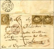 Grille / N° 1 Paire (1 Ex Def) + 1 Ex (def) Càd Rouge OUTREMER / BASTIA 28 JUIL. 51 Sur Lettre Adressée Par La Voie Des  - 1849-1850 Ceres