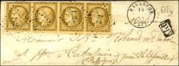 PC 1925 / N° 1 Bande De 4 (2 Ex Def) Càd T 15 MAUBEUGE (57) Sur Lettre Pour La Belgique. 1853. - TB. - R. - 1849-1850 Ceres