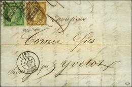 Grille / N° 1 + 2 2 Ex Belles Marges Càd PARIS (60) 24 SEPT. 51 Sur Lettre Territoriale Pour Yvetot. - TB. - R. - 1849-1850 Ceres