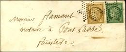 Etoile / N° 1 + 2 Vert Foncé (les 2 Ex Belles Marges) Sur Lettre Territoriale Pour Pont L'Abbé. Au Verso, Càd De Départ  - 1849-1850 Ceres