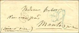 Càd Bleu PARIS (60) 1 JANV. 49, Taxe Tampon 2 Bleue Sur Lettre Avec Texte Daté Du 1er Janvier 49 Pour Mantes Sur Seine.  - 1849-1850 Ceres
