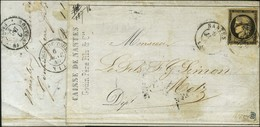 Càd T 15 NANTES 5 JANV. 49 / N° 3 Sur Lettre Pour Metz, Au Verso Càd LIGNE DE TOURS (1) 6 JANV. 49 Et Càd ROUTE N° 18 /  - 1849-1850 Ceres