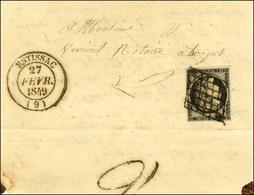 Grille / N° 3 Noir Sur Blanc Càd T 14 ESTISSAC (9) Sur Lettre Adressée à Troyes. Au Verso, Taxe Tampon 2 De Confirmation - 1849-1850 Ceres