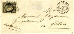 Grille / N° 3 Noir Sur Ivoire Càd T 15 NEUFCHATEL-EN-BRAY (74). 1849. - SUP. - 1849-1850 Ceres