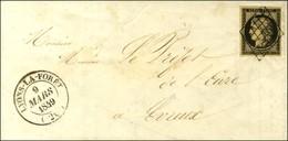 Grille / N° 3 Noir Sur Jaune Càd T 14 LYONS-LA-FORÊT (26) Sur Lettre Pour Evreux. 1849. - SUP. - R. - 1849-1850 Ceres
