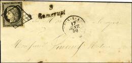 Grille / N° 3 Belles Marges Càd T 15 ARCY-S-AUBE (9) Cursive 9 / Ramerupt Sur Lettre Pour Troyes. 1850. - TB / SUP. - R. - 1849-1850 Ceres