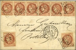 GC 3997 / N° 51 Bande De 6 + 2 Ex Càd T 17 GARE DE TOURS. 1873. - TB / SUP. - R. - 1871-1875 Ceres