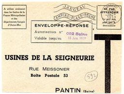 LOIRET - Dépt N° 45 = JARGEAU  1959 = DEVANT D' ENVELOPPE REPONSE T + CAMPING FLAMME SECAP 'CAMPING - PLAGE  ' - Entiers Postaux