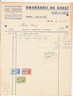 """Factuur Dd. 31-12-1948 : Drukkerij De Geest - Weekblad """"Gazet Van Zele""""  → Rode Kruis Zele (ref. 14) - 1950 - ..."""