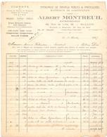 Factuur Facture - Entreprise De Travaux Publics - Albert Montreuil - Halluin 1937 - Artesanos