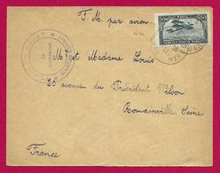 Enveloppe Expédiée Par Avion En 1924 - Expédiée De Rabat à Destination De Romainville - Poste Aérienne
