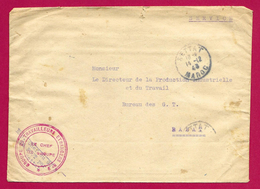 Enveloppe Avec Tampon Groupe De Travailleurs Étrangers - Expédiée De Settat à Destination De Rabat - Maroc (1891-1956)
