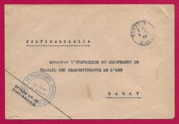 Enveloppe Avec Tampon Groupe De Travailleurs Étrangers N° 10 - Oued Akrach - Expédiée à Destination De Rabat - Maroc (1891-1956)