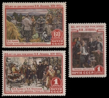 Russia / Sowjetunion 1955 - Mi-Nr. 1756-1758 ** - MNH - Lenin - Gemälde - 1923-1991 UdSSR