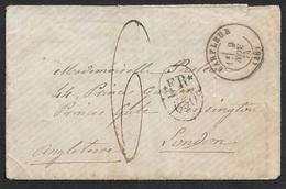 1874 - Enveloppe - C.à.d BARFLEUR A LONDRES - Marque Taxe FR /1Fr 50 Et Ms 6. Verso Arrivée London Nov 11 74 - 1849-1876: Période Classique