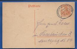 Postkarte à 7 1/2 Deutches-Reich   Oblitération: BINGERBRUCK -MORBACH Bahnpost ZEG 4610  17.6.1917 - Germany